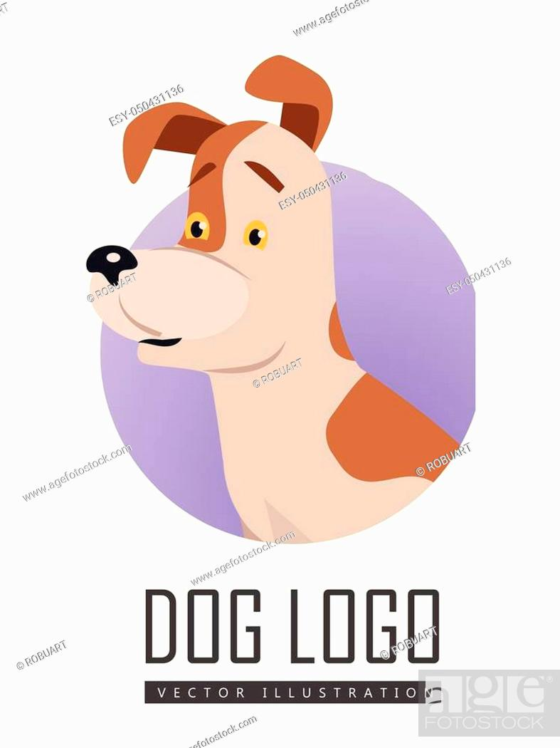 Stock Vector: Dog vector logo in flat style. Russell Terrier bust in the blue circle illustration for pet shop, breed club logotype, app icon, animal infogpaphics elements.