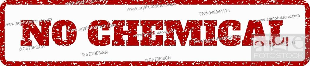 Stock Vector: Dark Red rubber seal stamp with No Chemical text. Vector message inside rounded rectangular frame. Grunge design and scratched texture for watermark labels.