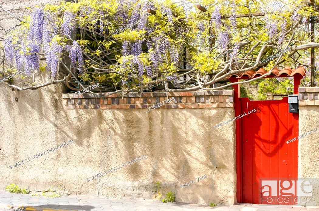 Stock Photo: Door along street in Santa Fe New Mexico.