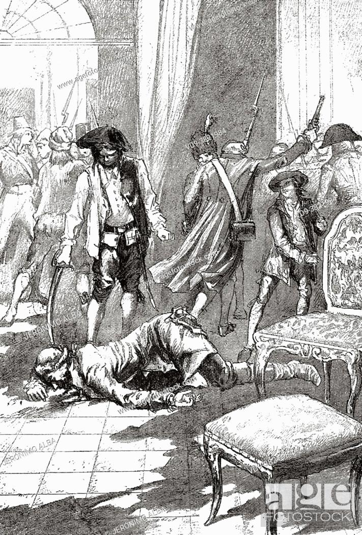 Stock Photo: Maximilian de Robespierre (1758-1794) Wounded by a bullet. Politician, French deputy during the French revolution. France.