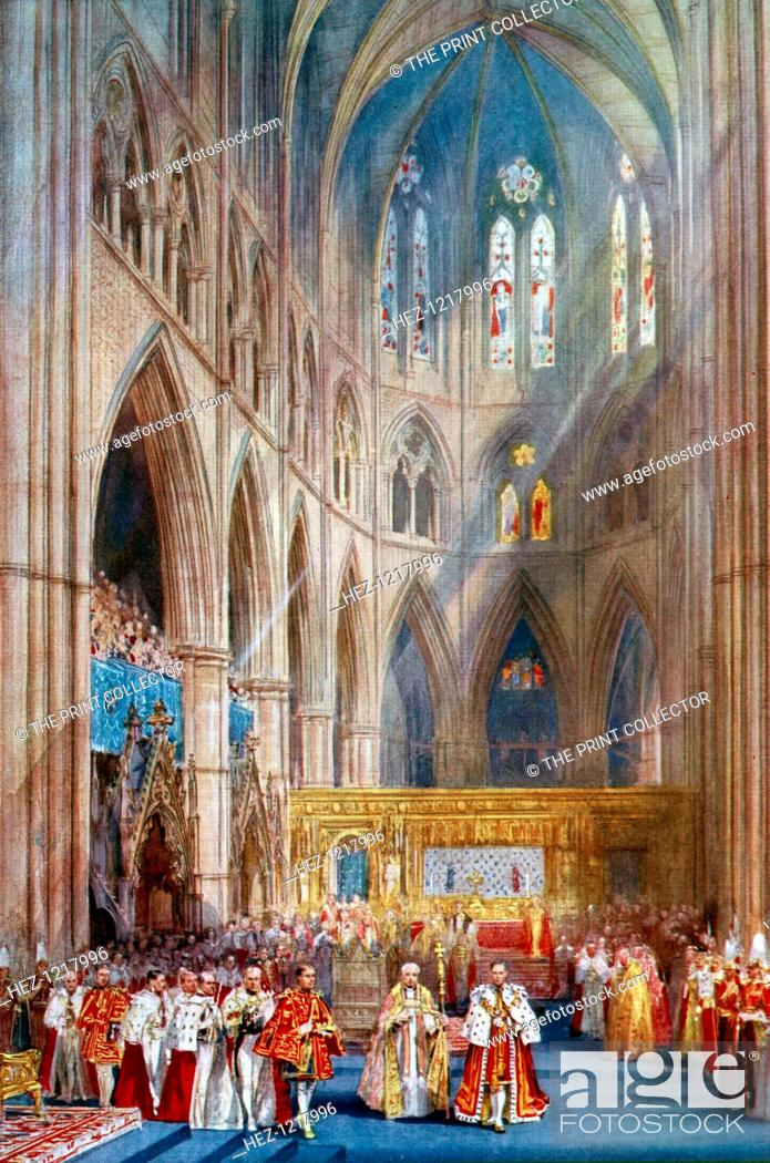 Stock Photo: 'The Recognition', George VI's coronation ceremony, Westminster Abbey, London, 12 May 1937. A coloured plate from the Illustrated London News: Coronation Record.