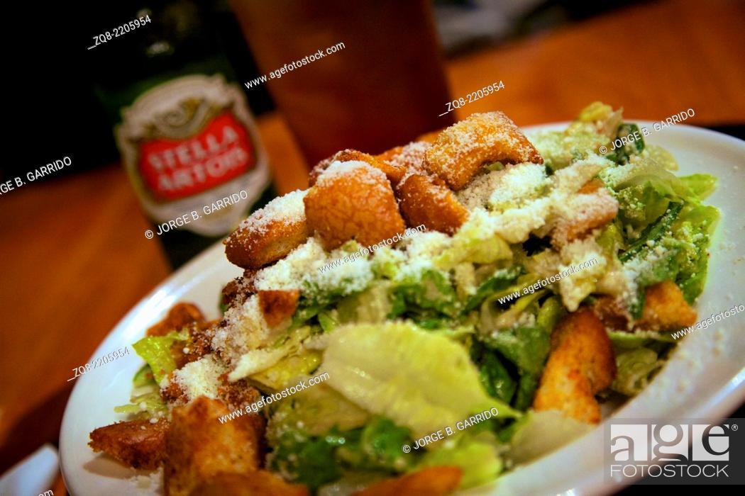 Stock Photo: One portion of Caesar salad.