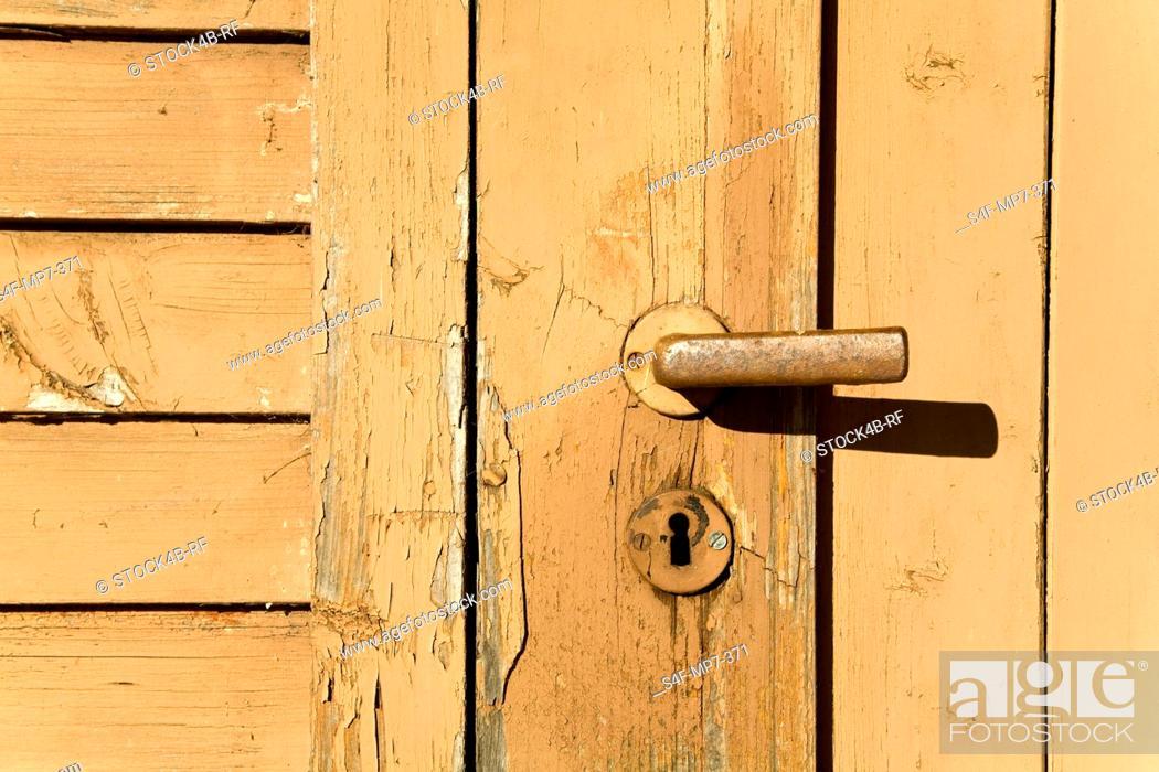 Stock Photo: Closed wooden door.