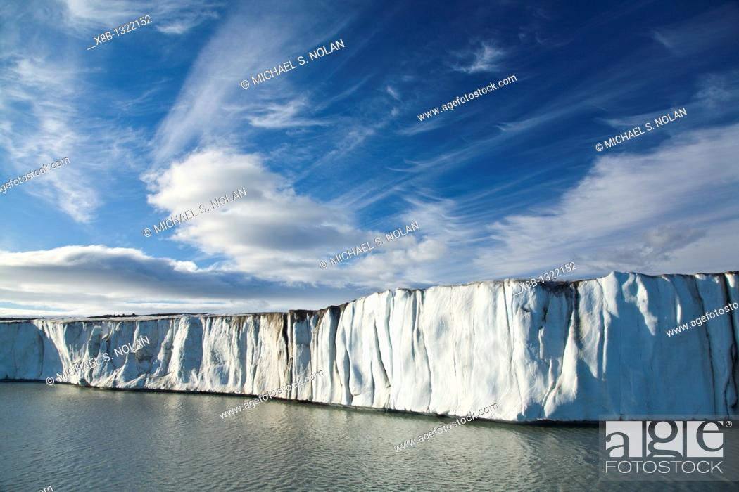 Stock Photo: Late evening views of the Negrebreen Glacier melting in the sunlight on Spitsbergen Island in the Svalbard Archipelago, Barents Sea, Norway.