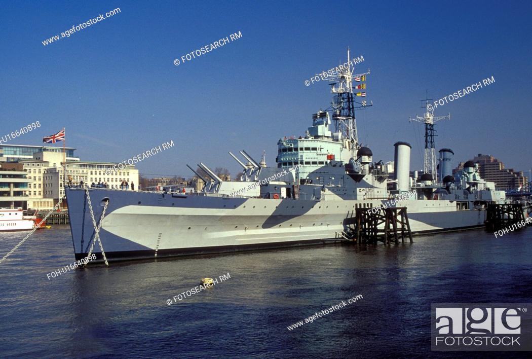 Stock Photo: HMS Belfast, London, England, Great Britain, United Kingdom, Europe, H.M.S. Belfast Naval Battleship moored along the River Thames.