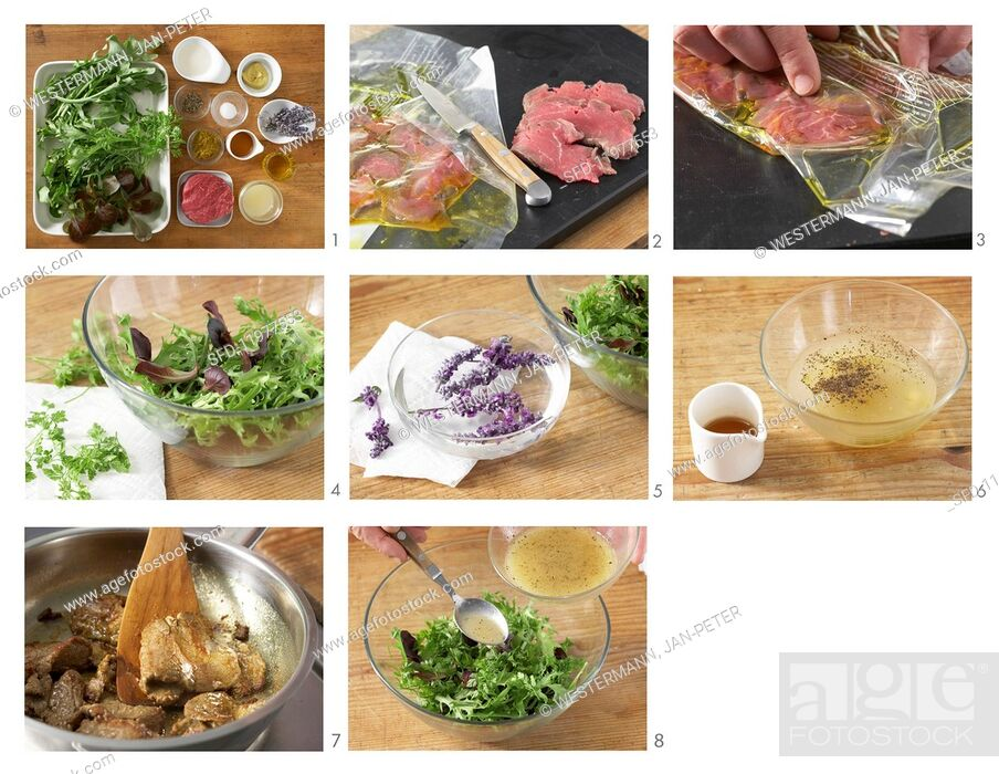 Stock Photo: A mixed leaf salad with fine beef fillet strips being made.
