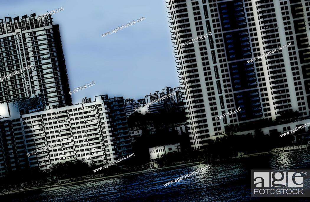 Stock Photo: City buildings in Caribbean.