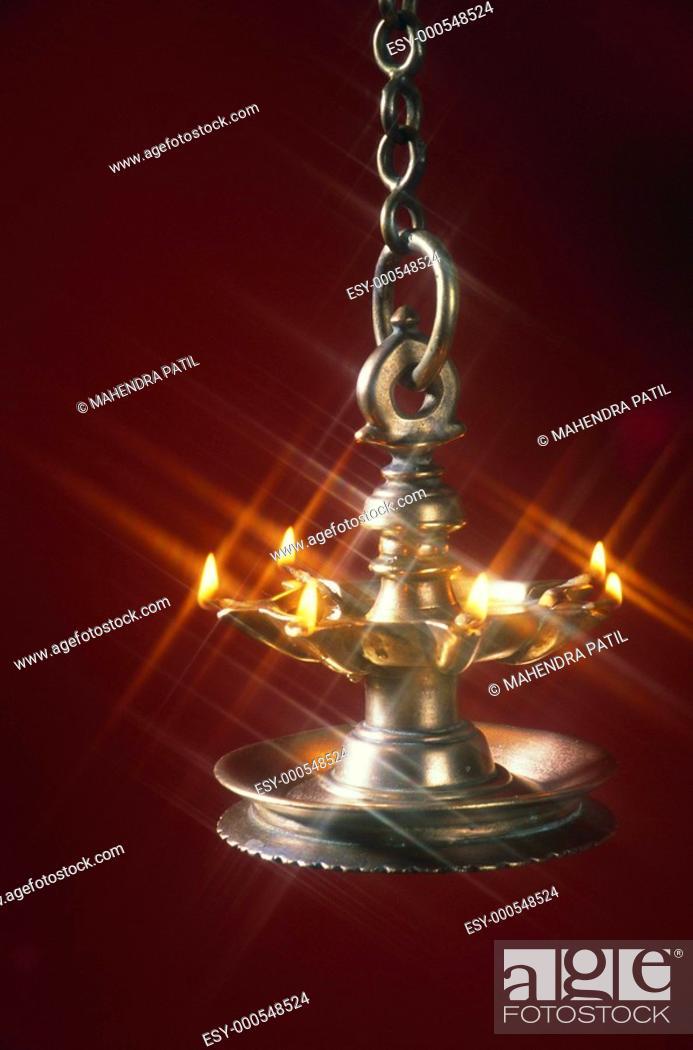 Diwali deepawali festival , brass oil lamp hanging, Stock Photo