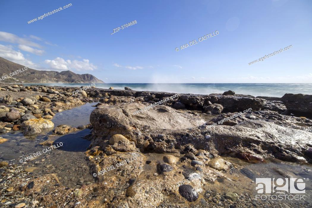 Stock Photo: El Algarrobico beach in Cabo de Gata Almeria Andalusia Spain.