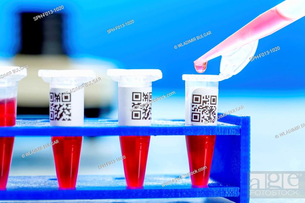 Stock Photo: Eppendorf tubes with QR (Quick Response) codes and pipette.