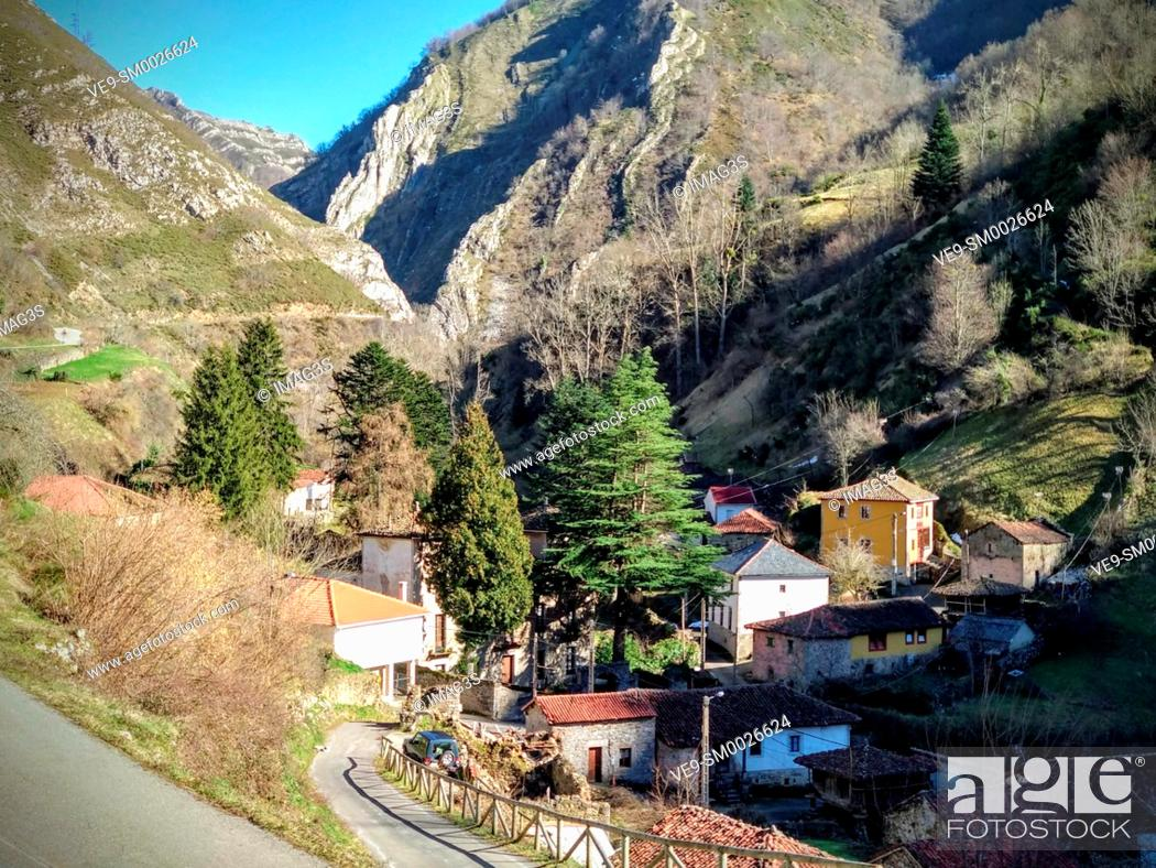 Stock Photo: Villarín village, Somiedo Nature Park and Biosphere Reserve, Asturias, Spain.