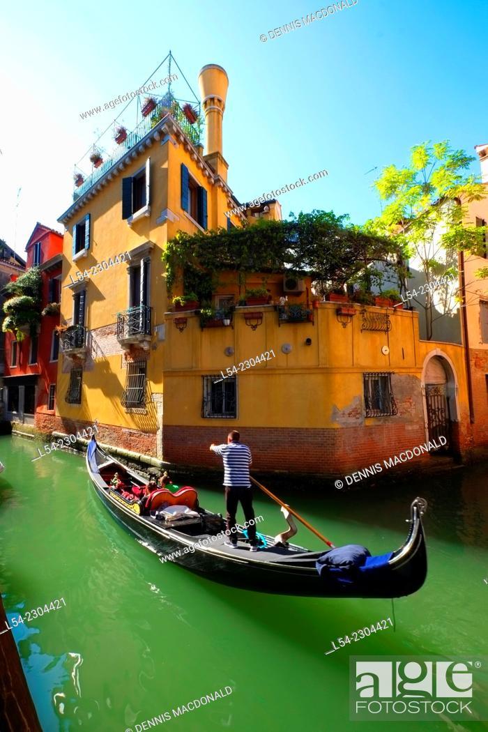 Stock Photo: Gondola Canal Venice Italy IT Europe EU Adriatic Sea.