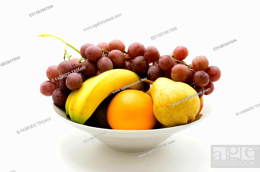Stock Photo: Bowl of fruit on a white background.
