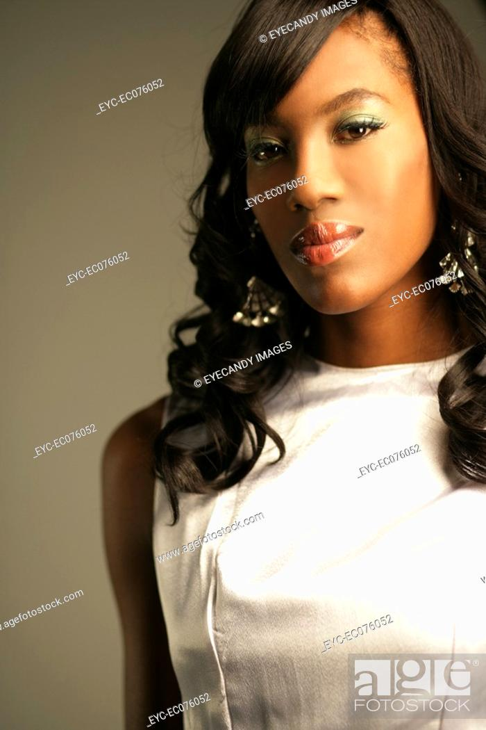 Stock Photo: Young stylish African American woman, portrait.