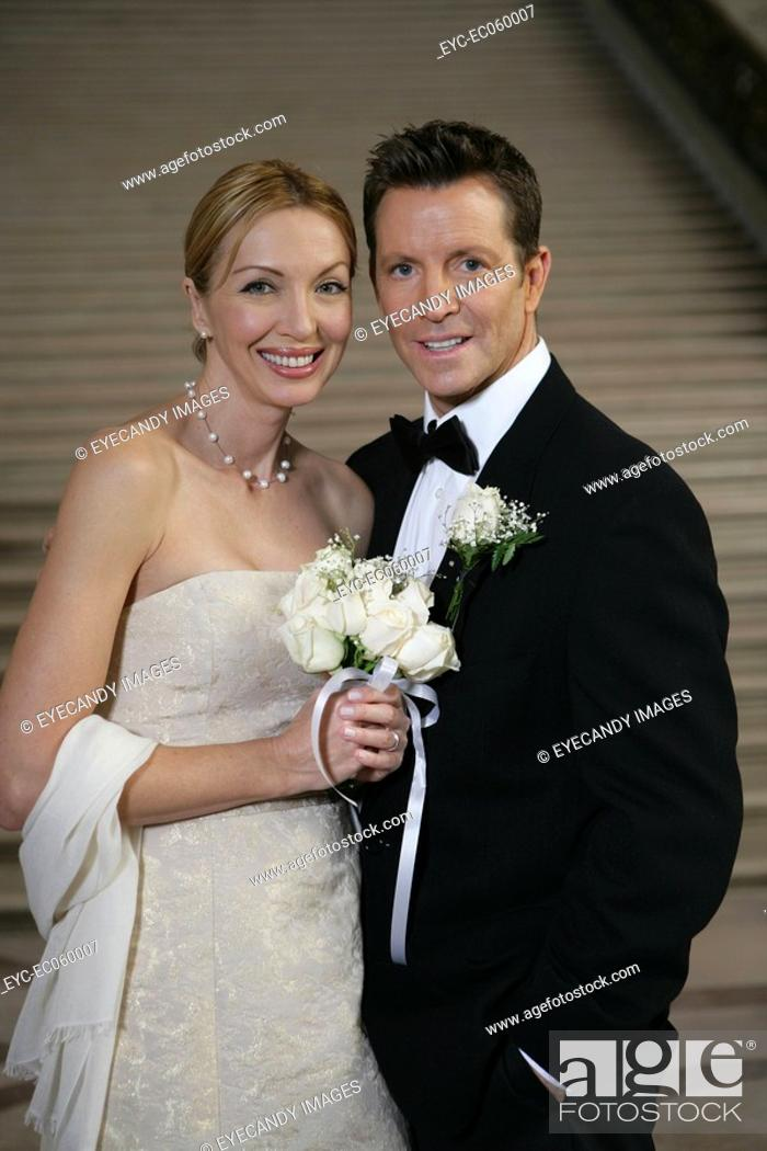 Stock Photo: Boomer couple in wedding attire.