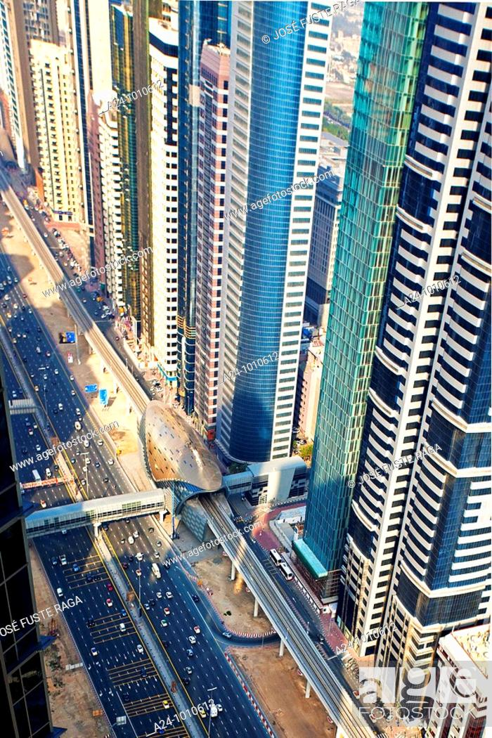 Stock Photo: United Arab Emirates January 2010 Dubai City Sheikh Zayed Avenue.