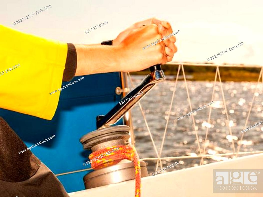 Stock Photo: Winch capstan with rope on sailing boat.