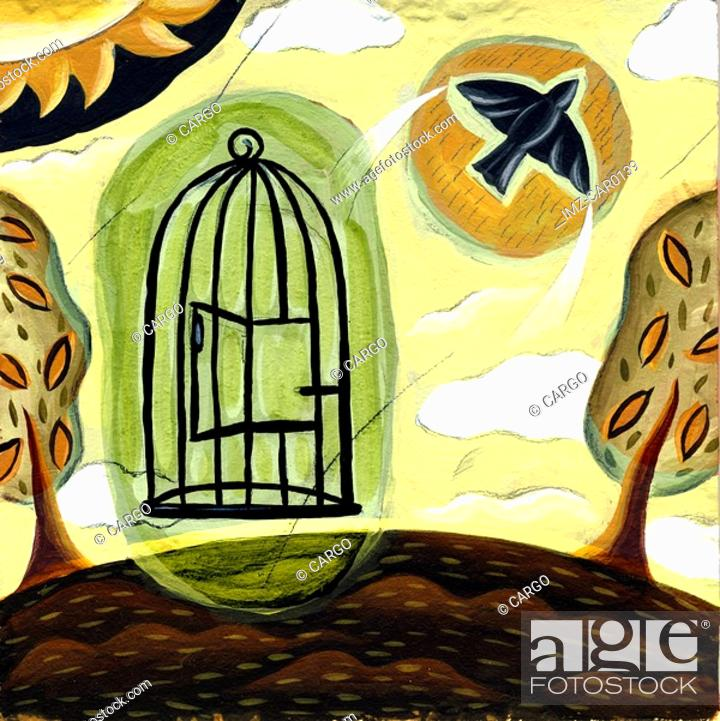 Stock Photo: A bird flying out from a cage.