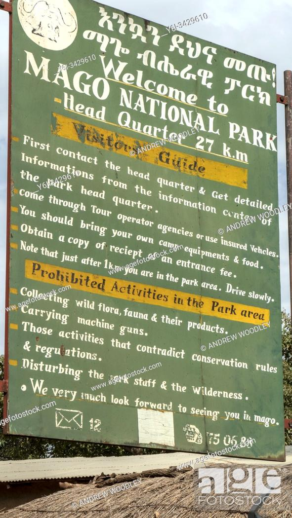 Stock Photo: Mago National Park welcome sign Ethiopia.
