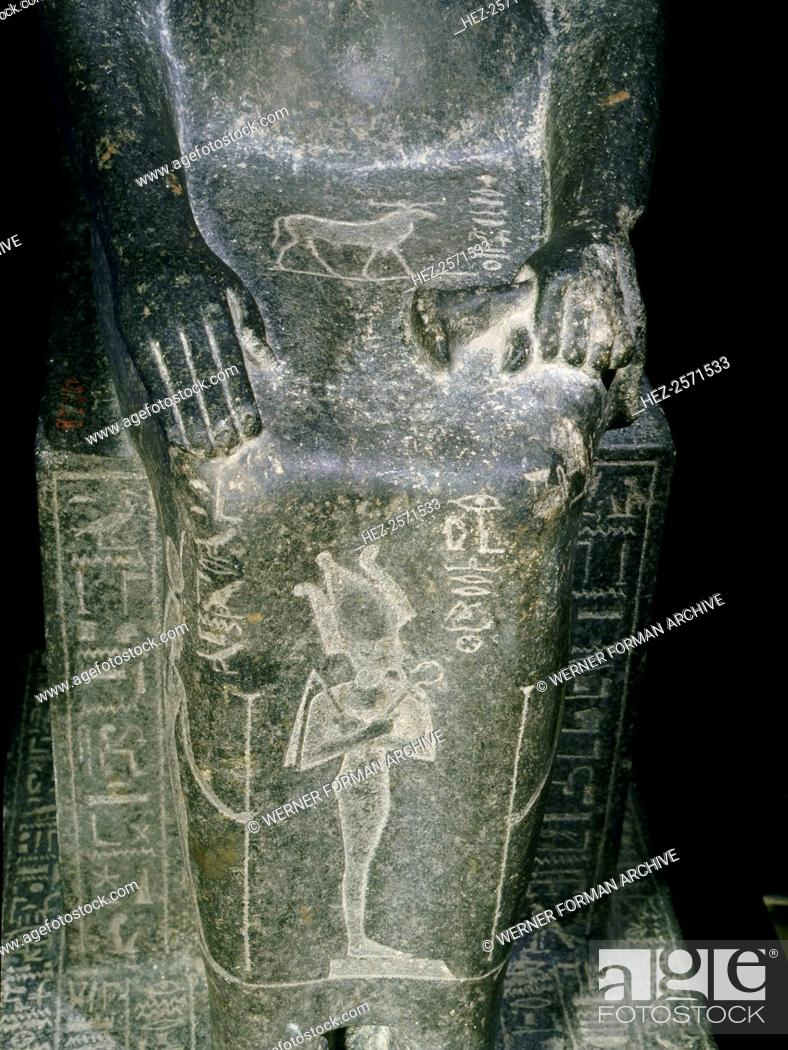 Stock Photo: Seated statue of the Princess Shebensopdet, granddaughter of Osorkon II. A sistrum-player of Amun, this statue was commissioned and placed in the temple of Amun.