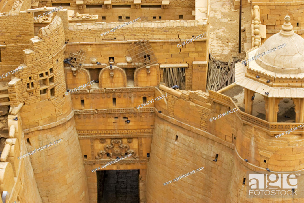Stock Photo: High angle view of a fort, Jaisalmer Fort, Jaisalmer, Rajasthan, India.