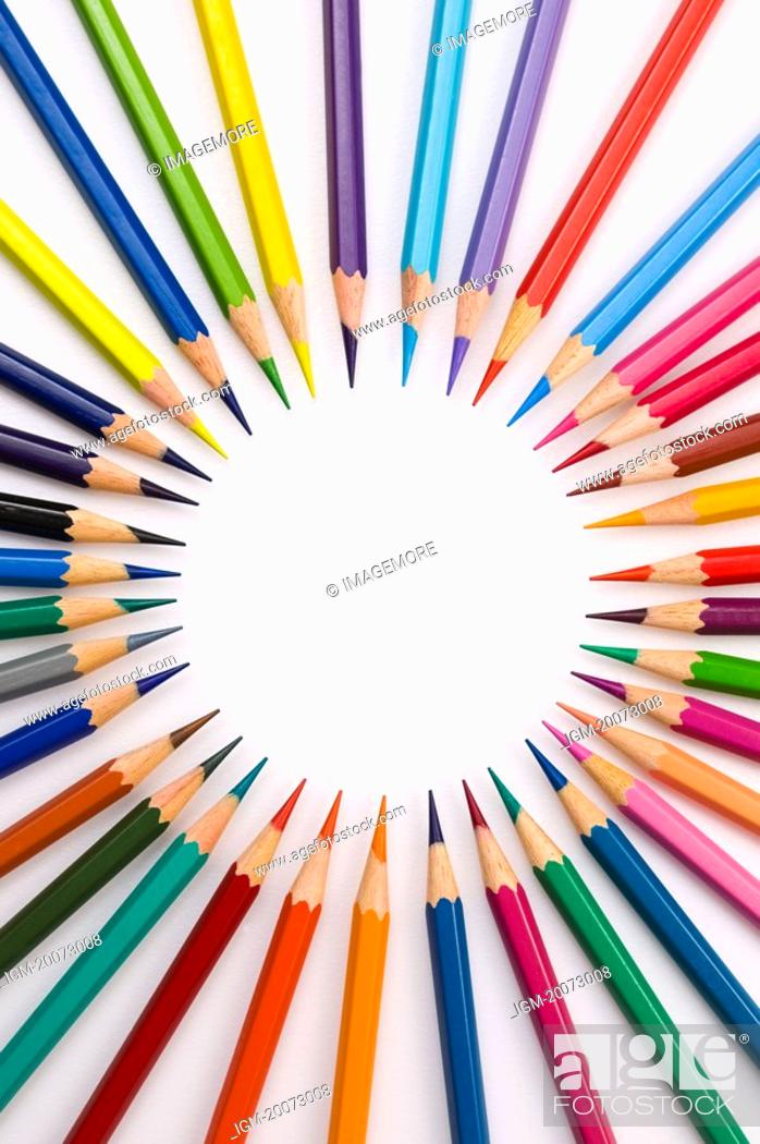 Stock Photo: Colored Pencils forming a circle.
