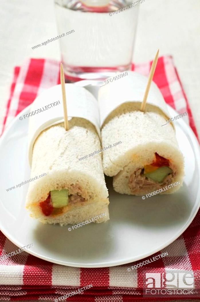 Stock Photo: Two tuna tramezzini rolls.