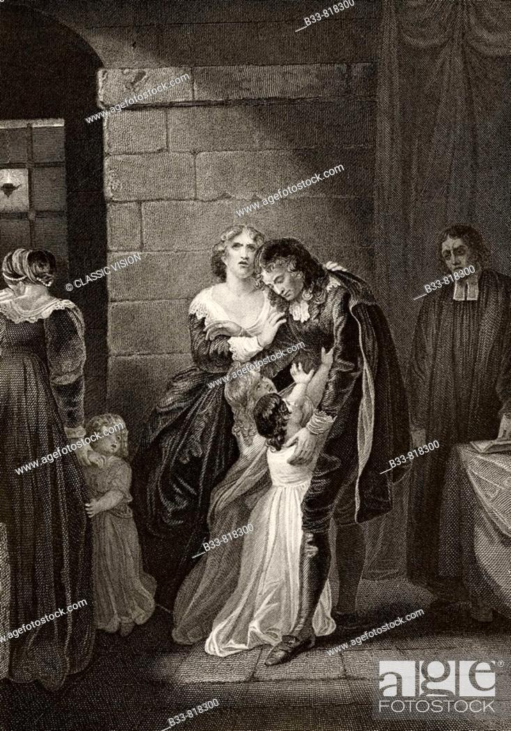 Stock Photo: Lord William Russell saying farewell to his family prior to his execution July 21 1683  From The National and Domestic History of England by William Aubrey.