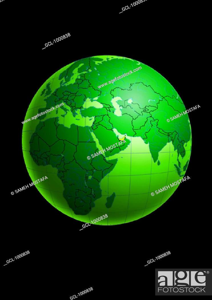 Stock Photo: United Arab Emirates on Globe.