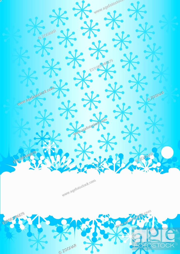 Stock Photo: Blue winter background with snowflakes an space for your text.