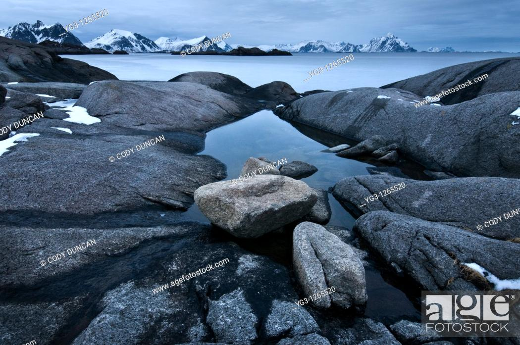 Stock Photo: Rugged rocky coastline of Vestvågøy, Stamsund, Lofoten islands, Norway.