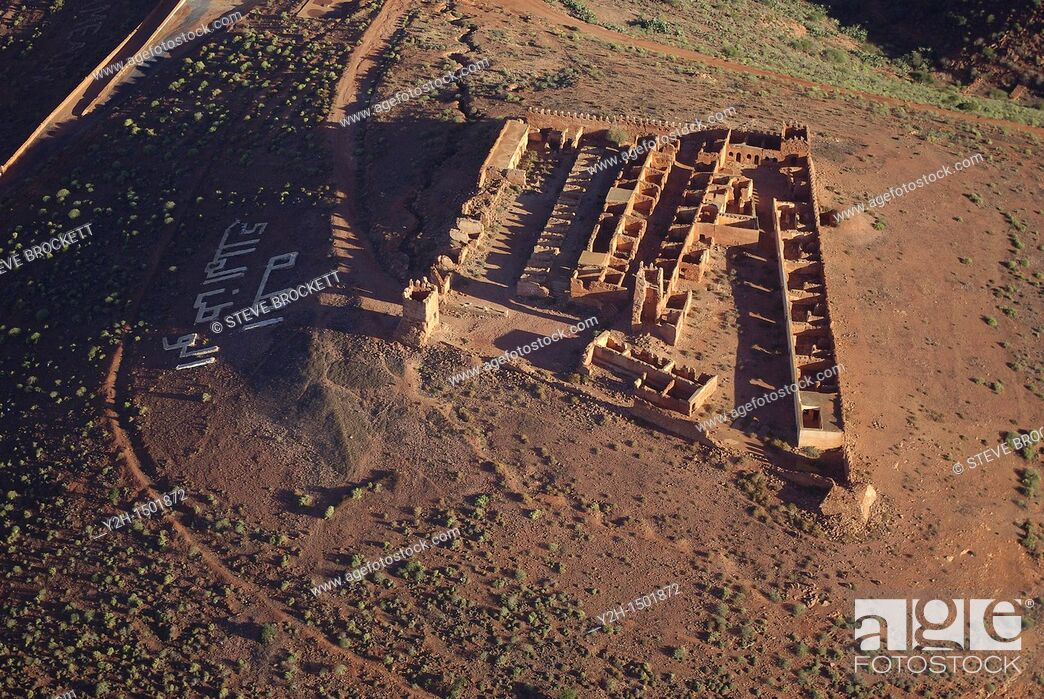 Stock Photo: Aerial view of Spanish Military Fort above Mirleft ,Morocco.