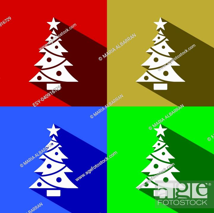 Stock Vector: Christmas tree icon with star set with shade. Color vector illustration.