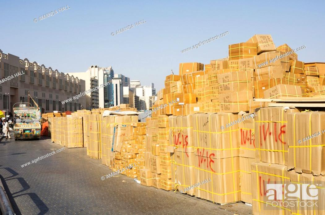 Goods stacked on the dockside of the Dhow Wharfage awaiting