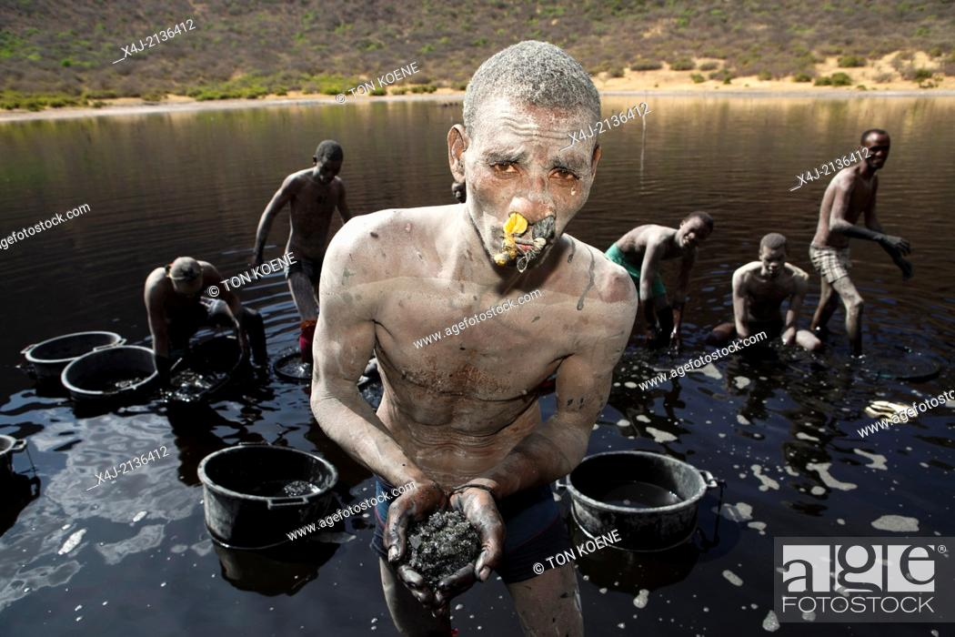 Stock Photo: salt mining in Ethiopia.