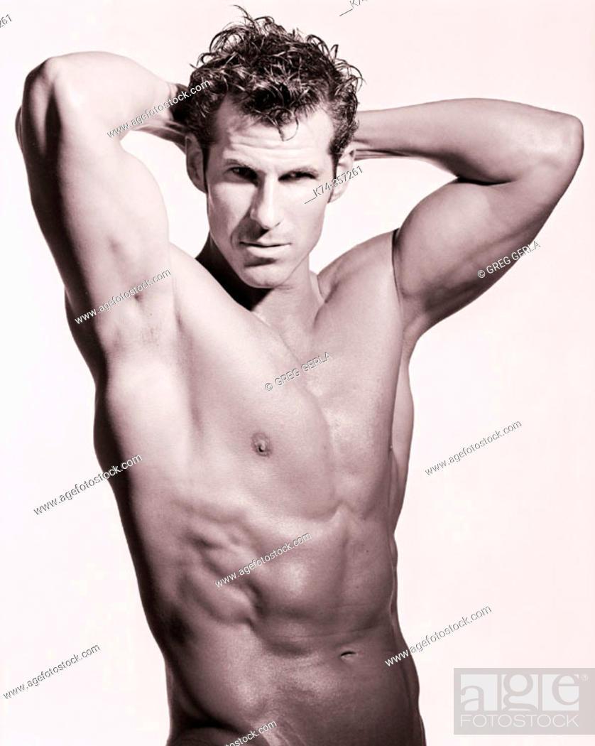 Stock Photo: Topless Muscular Man.