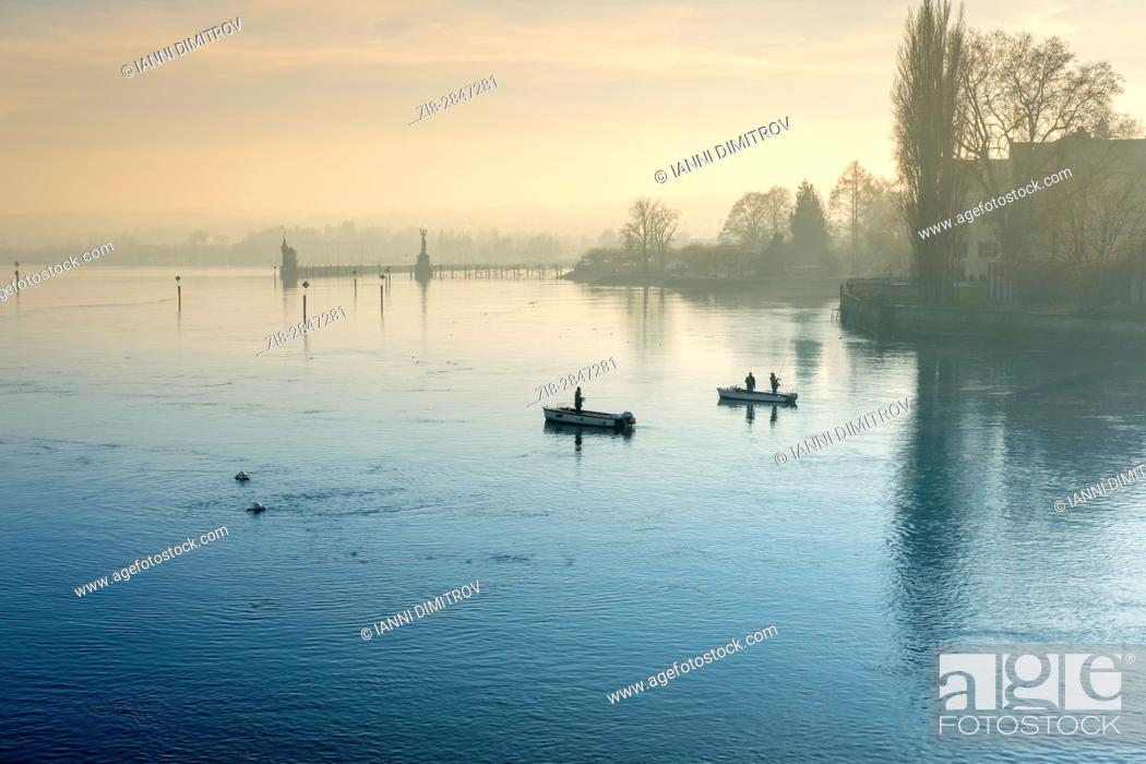 Stock Photo: Anglers, Lake Constance, Bodensee, Germany.