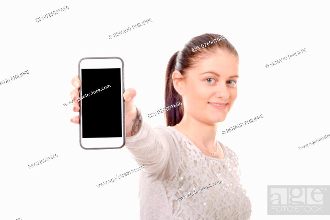 Stock Photo: a happy young woman showing blank smartphone screen.