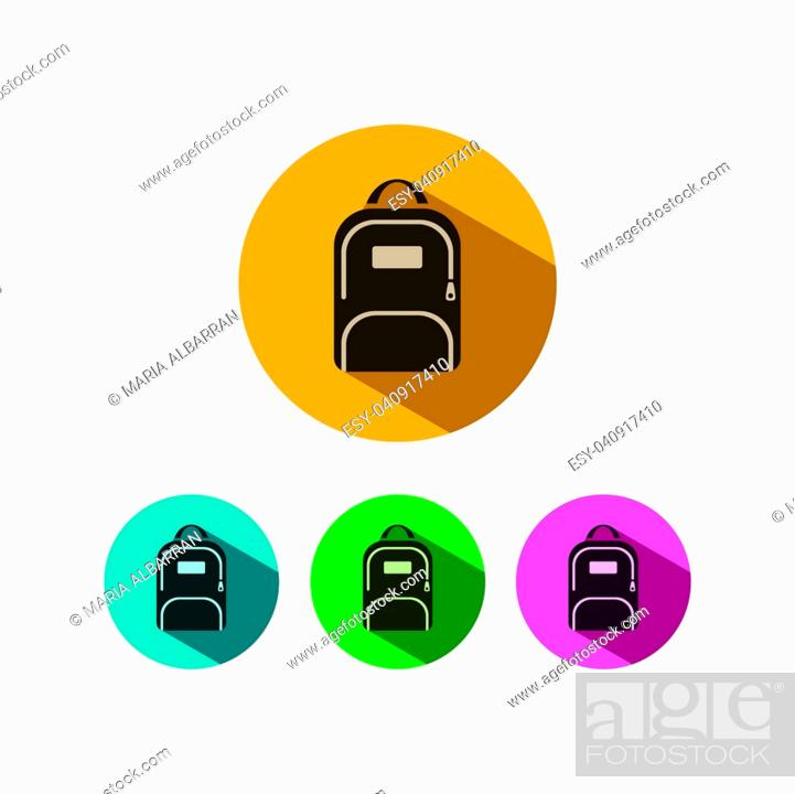 Vector: Backpack icon with shadow on colored circles.