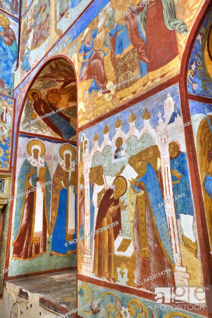 Imagen: Frescoes, St John the Theologian's Gate Church, Kremlin, Rostov Veliky, Golden Ring, Yaroslavl Oblast, Russia.