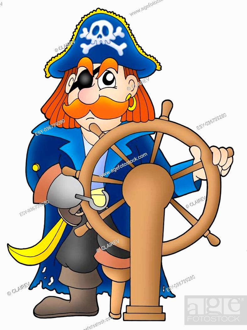 Stock Photo: Pirate captain on white background - color illustration.