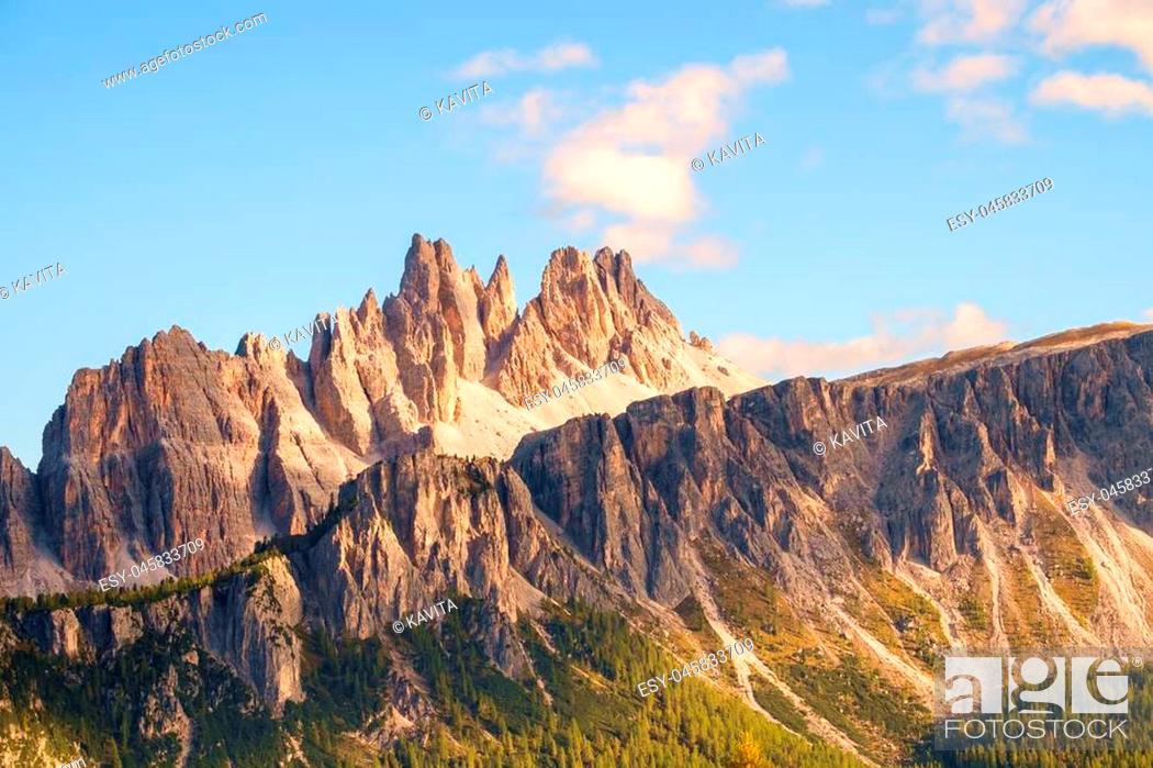 Stock Photo: Rocky mountain peaks of Croda da Lago in the Dolomites, Italian Alps.