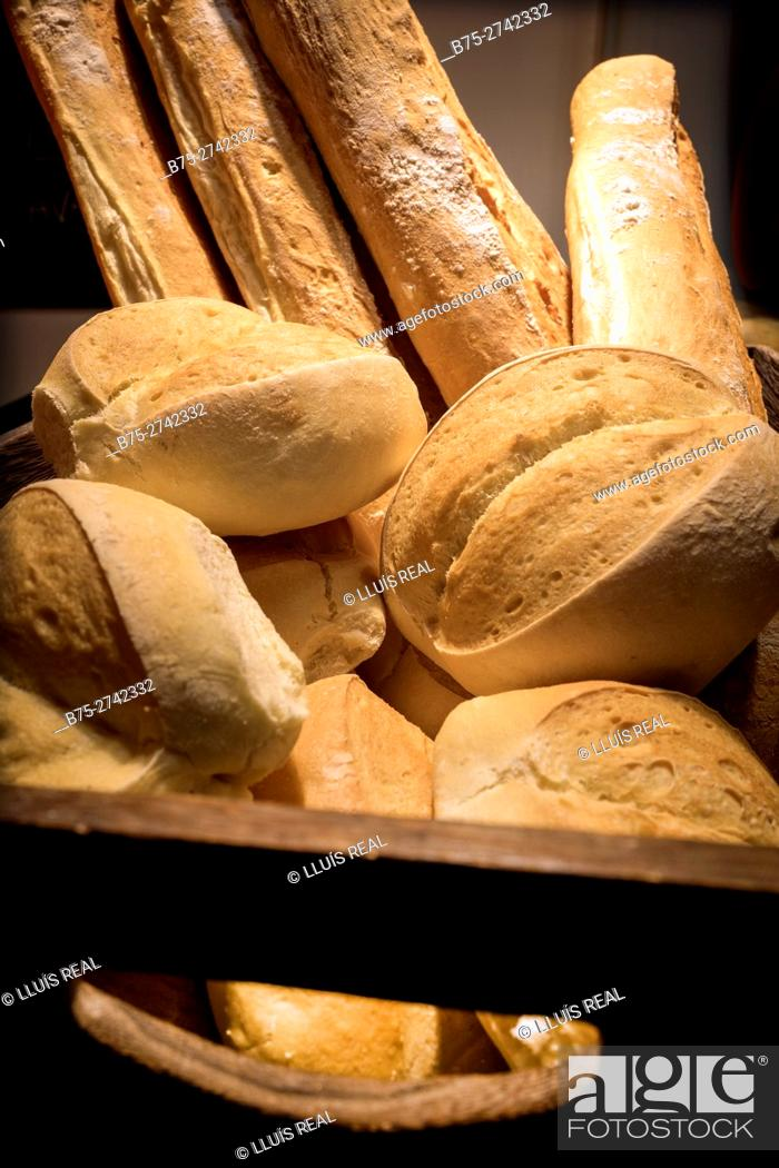 Stock Photo: Close-up with different varieties of bread. Mahó, Minorca, Balearic Islands, Spain.