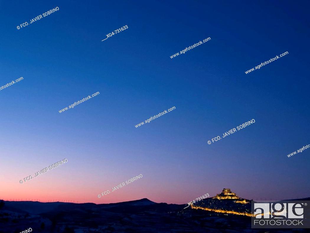 Stock Photo: Morella in winter at dusk. Castellon province, Comunidad Valenciana, Spain.