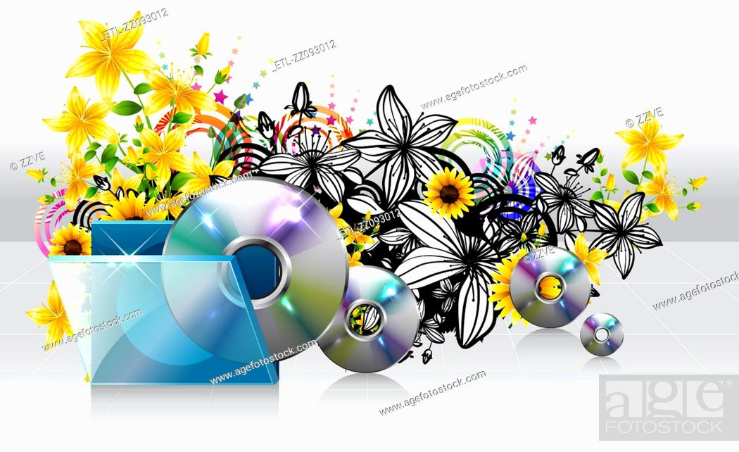 Stock Photo: Compact disc and case with flora design.
