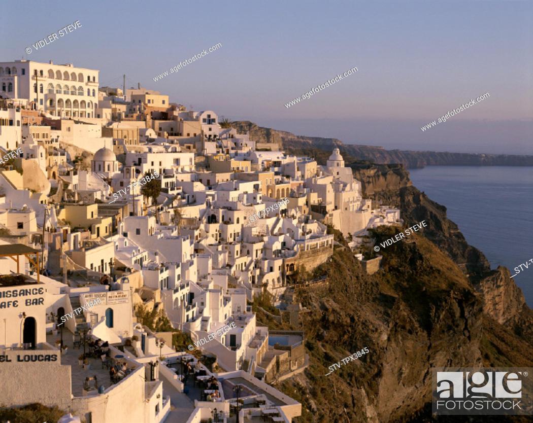 Stock Photo: Cyclades, Fira, Greece, Europe, Holiday, Islands, Landmark, Santorini, Thira, Tourism, Travel, Vacation,.