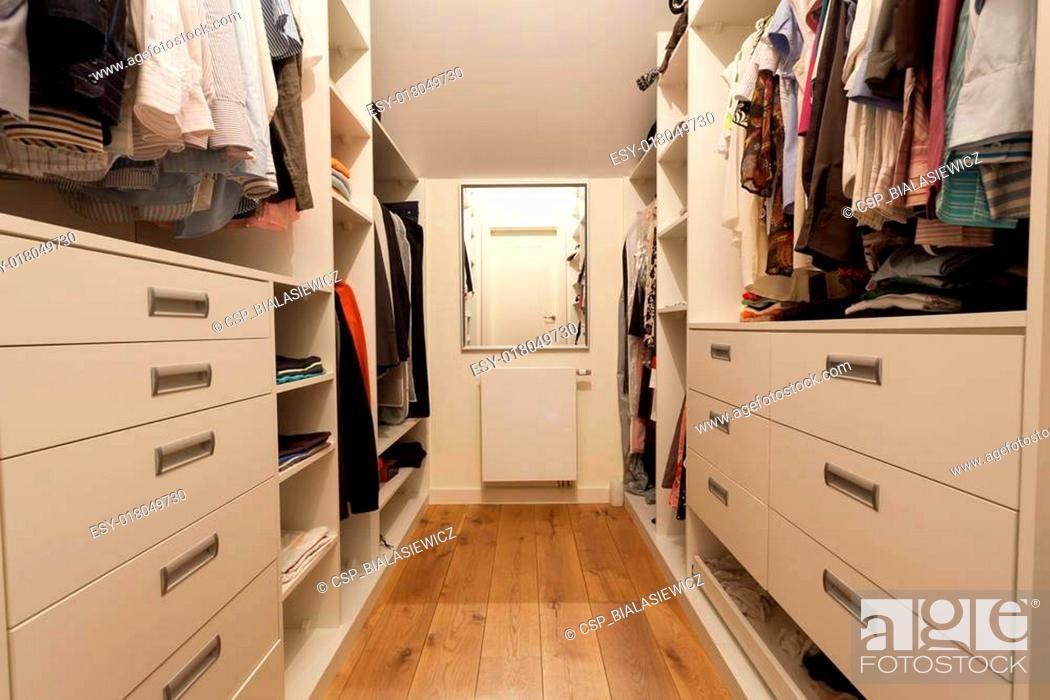 Stock Photo: Big wardrobe in new house.
