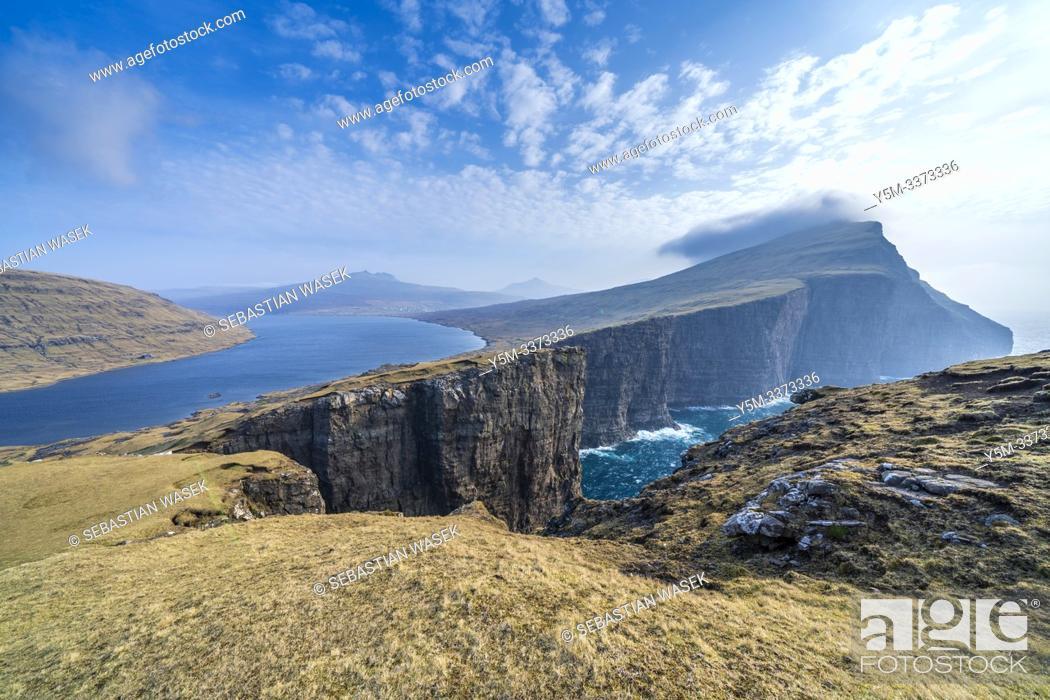 Stock Photo: Leitisvatn Or Sorvagsvatn Lake, Vagar, Faroe Islands, Denmark, Europe.