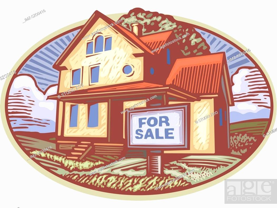 Stock Photo: Oval shaped picture of a house with a for sale sign in front.