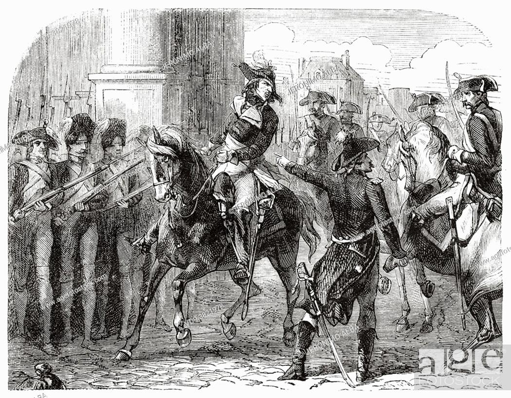 Stock Photo: Francois Henriot (1761-1794) at the Tuileries gate, Paris. France. Old 19th century engraved illustration from Histoire de la Revolution Francaise 1876 by Jules.